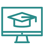 Clipart of a computer screen with a graduation cap on the screen.
