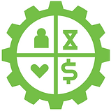 Clipart of a gear  with four sections and inside each a heart, person, hour glass, and money sign.