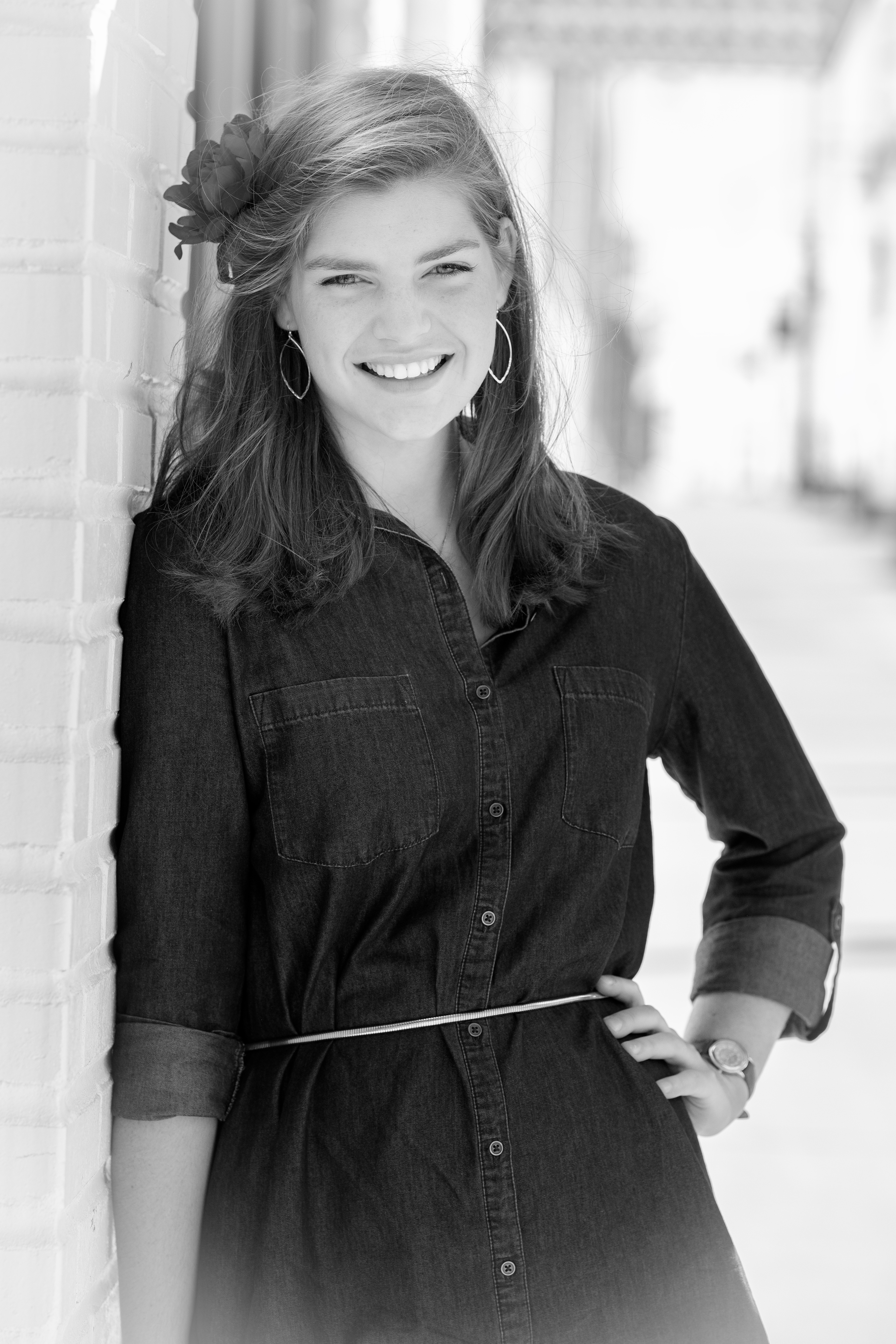 B&W portrait of smiling young lady