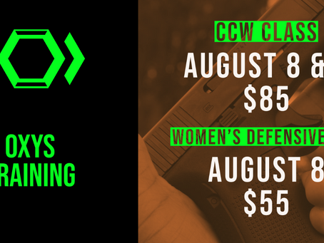 Upcoming CCW Class & Women's Defensive - Level 2 this weekend! August 8th & 9th