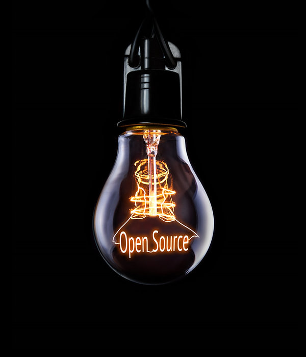 Hanging lightbulb with glowing Open Sour