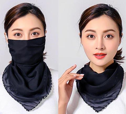 マスク付きシフォンスカーフ<ブラック>