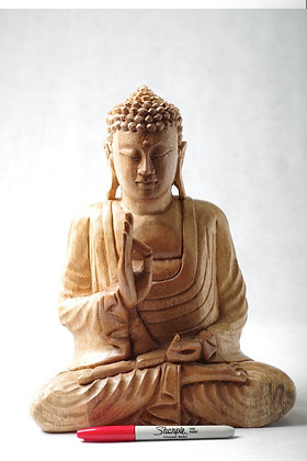 Medium wooden Buddha 12 inches high
