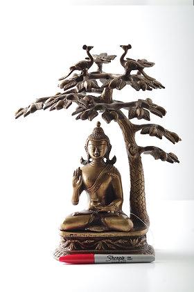 Brass Buddha under the tree
