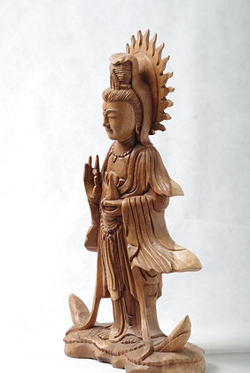 Wooden Guanyin 15.5 inches high