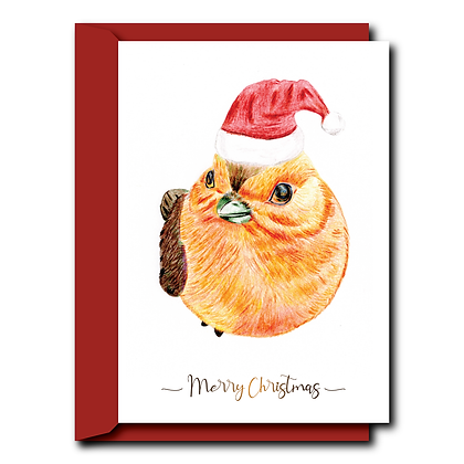 Hand drawn print Christmas card- Robin