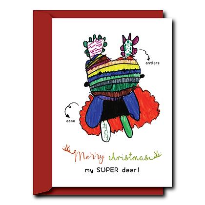 Hand drawn print Christmas card- Super Reindeer