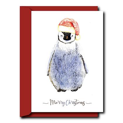 Hand drawn print Christmas card- Penguin