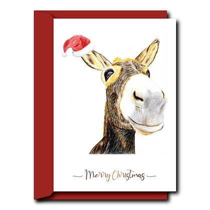 Hand drawn print Christmas card- Donkey