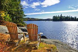 Muskoka Chairs looking out at Lake