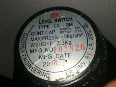 DAEHWA ENGINEERING LEVEL SWITCH TYPE LS SM AC250V DC24V WEIGHT 3.3KG KR DNV BV LR ABS GL Level Switc