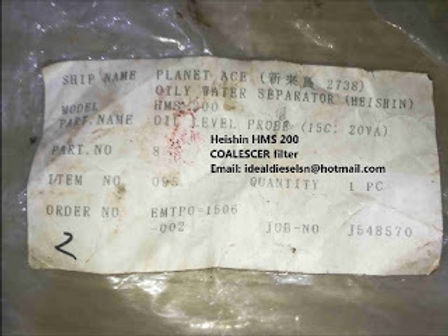HEISHIN HMS200 FILTER ELEMENT Item no 001 for sale , HEISHIN 15PPM OILY WATER SEPARATOR COALESCER fo