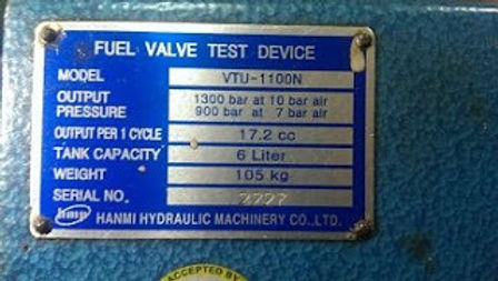 hanmi hydraulic machinery co. ltd VTU-1100N and VTU1100N FUEL VALVE TESTING UNIT and SPARE PARTS AVA