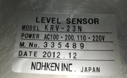 KRV23N NOHKEN INC JAPAN NEW LEVEL SENSOR NOHKEN INC JAPAN MODEL KRV-23N power/voltage: 100-200-110-2