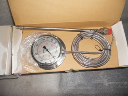 CAPILLARY METER 650c CONN-3/4INCH BSP SLIDE STEM DIA-12MM X 300MM LENGTH- 5METER Gas Filled THERMOME