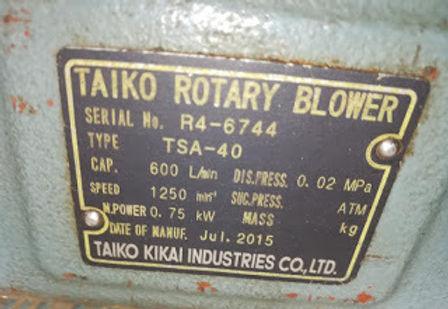 TSA – 40 TAIKO ROTARY BLOWER TSA40 TAIKO KIKAI INDUSTRIES CO LTD E-mail: idealdieselsn@hotmail