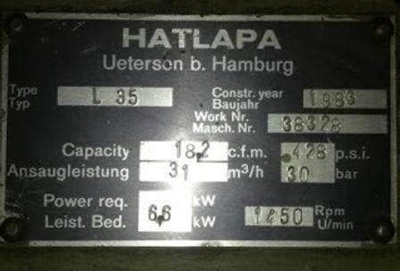 HATLAPA L35 Capacity -18.2 c.f.m. 428psi 31m3/hr 30bar power 6.6kw 1450rpm work no 38328 date1983 mo