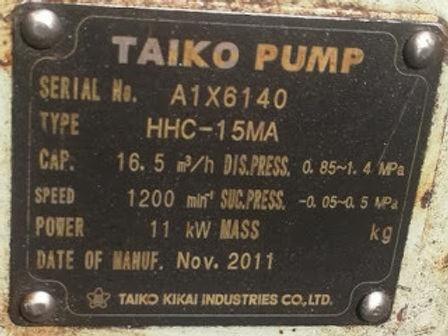 TAIKO PUMP NEW TYPE:HHC-15MA Cap: 16.5M3/H ,SPEED 1200MIN-1 POWER 11Kw Dis.press 0.85/1.4Mpa ,Suc Pr