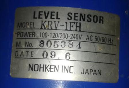KRV1FH NOHKEN INC JAPAN NEW LEVEL SENSOR NOHKEN INC JAPAN MODEL KRV-1FH POWER 100-120 / 200-240V AC