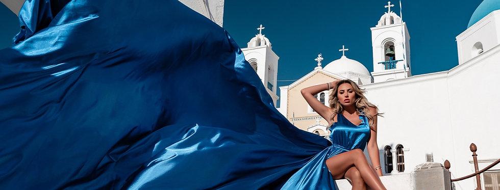 44. Blue satin dress