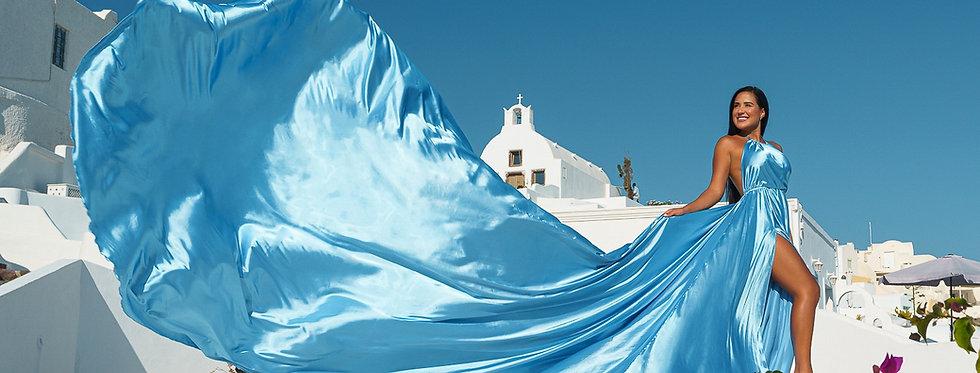 41. Sky blue satin dress