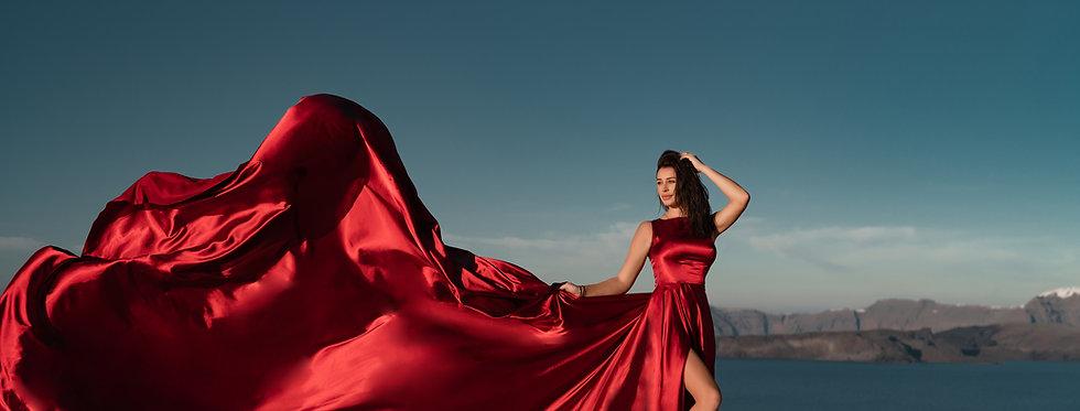 46. Cherry satin dress
