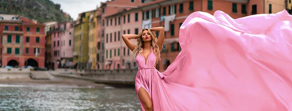 51. Pink satin transformer dress