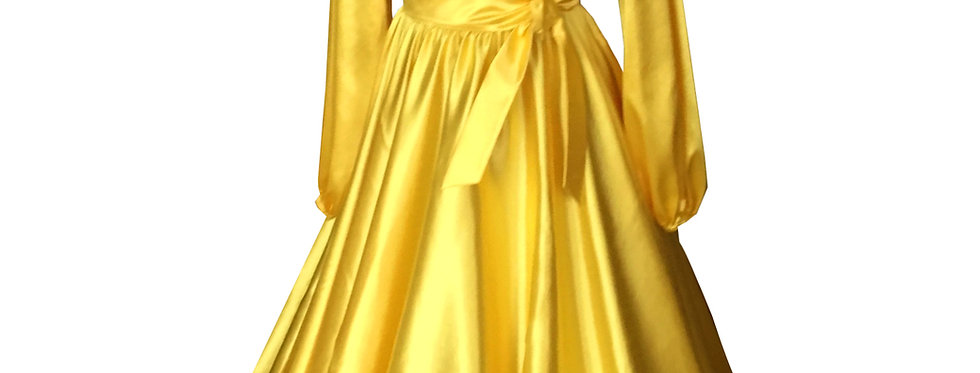 55. Yellow long sleeve dress with a headscarf