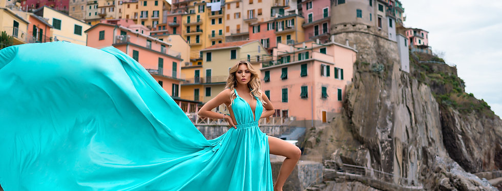 49. Tiffany blue satin transformer dress
