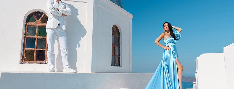 22. Sky blue satin one-shoulder dress