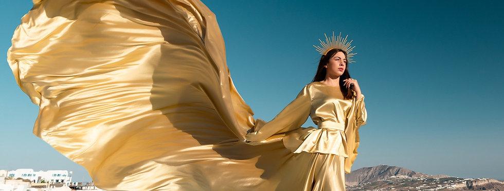 53. Golden long sleeve dress with a headscarf