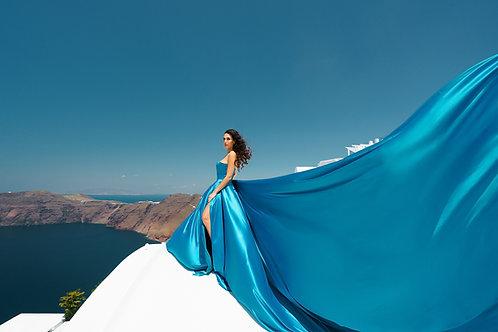 15. Blue satin corset dress