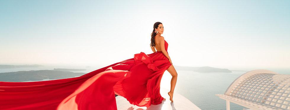 red flying dress