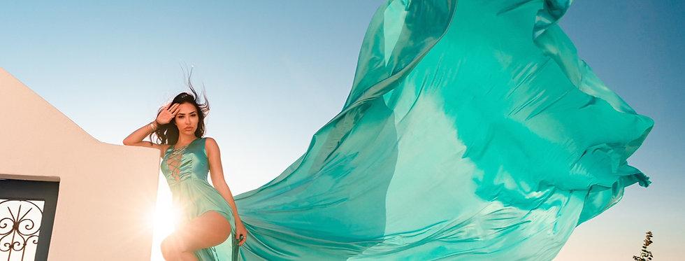 45. Tiffany blue satin dress