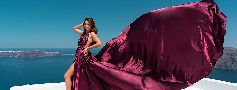 48. Ripe cherry satin transformer dress