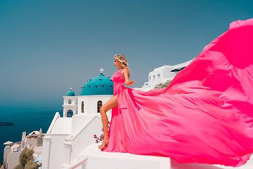 17. Bright scarlet satin dress