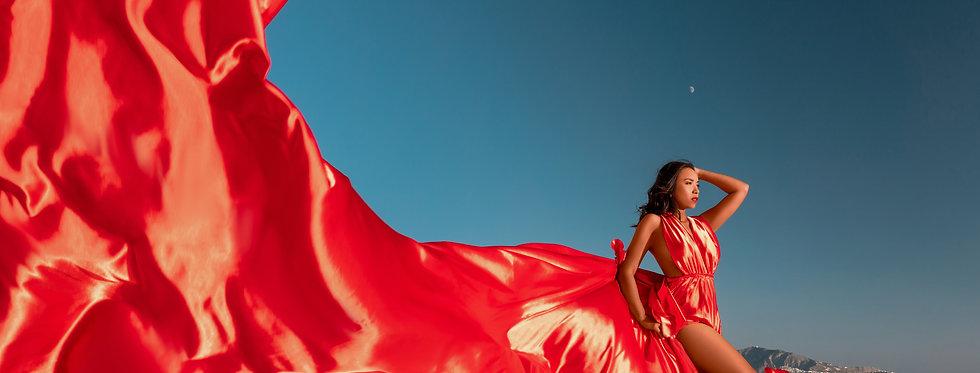 10. Red satin transformer dress