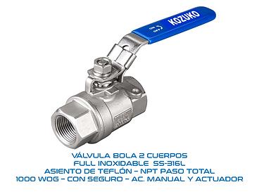 VALVULA BOLA 2 CUERPOS INOX