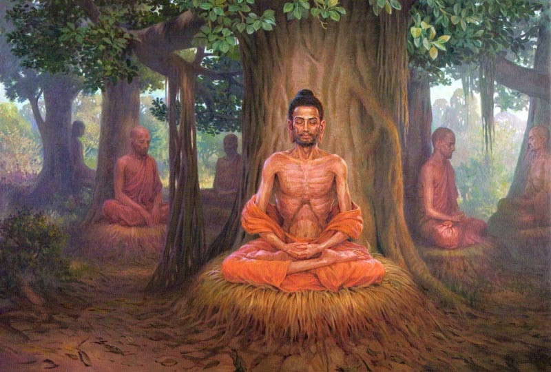 Ascetic Siddharta was practicing extreme meditations