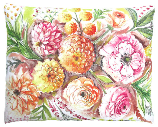 Painterly Floral Pillow, LS902