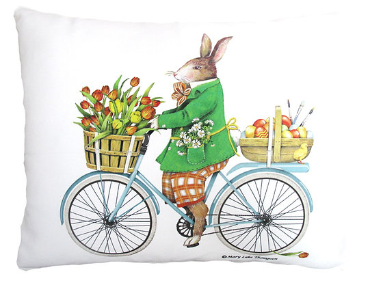 Rabbit on Bicycle Pillow, MLT803, 2 sizes