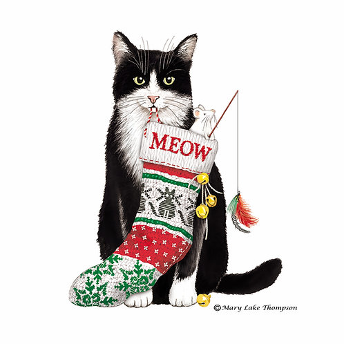 Christmas Cat with Stocking, MLT813LCS, 18x18