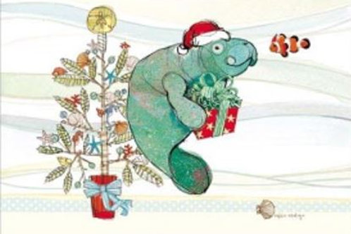RR121HP, Christmas Manatee Pillow 19x24 only