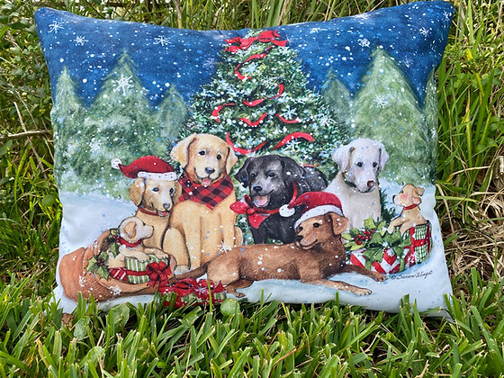 Christmas Dogs Pillow, SW210HP, 19x24