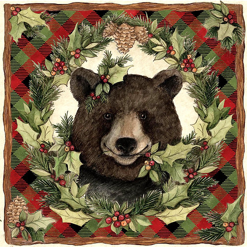 SW708LCS, Plaid Forrest Bear, 18x18