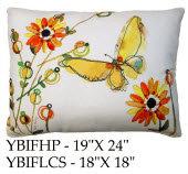 Yellow Butterfly Pillow, YBIF, 2 sizes