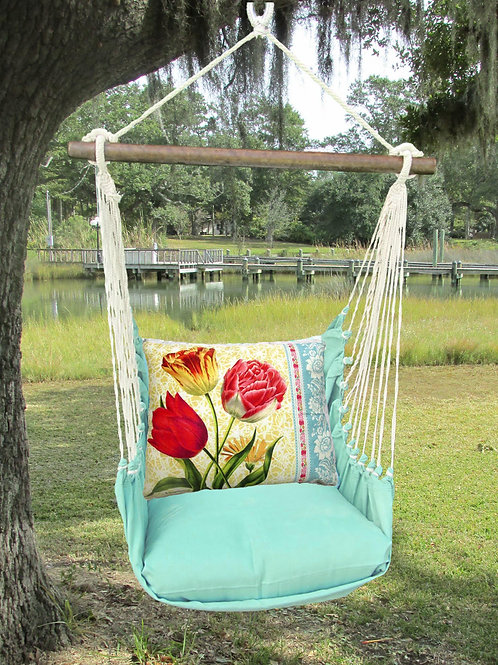 Seafoam Swing Set w/ Tulips Pillow, SFSN702-SP