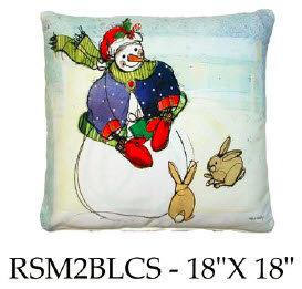 Snowman & Bunnies, RSM2BLCS, 18x18