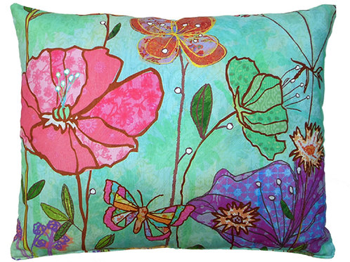 Turquoise Flowers Pillow,FLCVLCS, 18x18 only