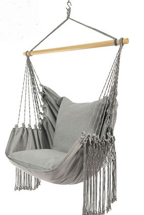 Natural Cotton Gray-Blue Swing Chair with Fringe, UD327LUX-SP3